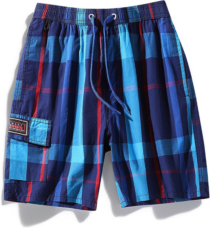 Men's Fashion Plaid Printing Shorts Summer Loose Casual Comfortable Drawstring
