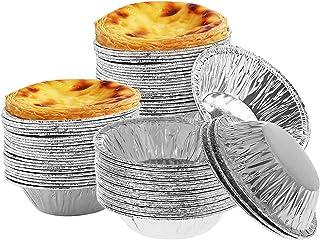 Aluminum Egg Tart Cups,Disposable Egg Tart Mold Foil Mini Tart Pans Cupcake Baking Mold For Cooking,Baking Supplies and Re...