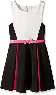 فستان للفتيات من BTween مكون من ثلاث ألوان مع طيات وحزام بألوان زاهية
