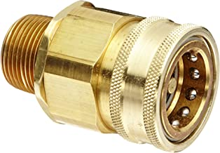 """Snap-Tite BVHC16-16M Brass H-Shape Quick-Disconnect Hose Coupling, Sleeve-Lock Socket, 1"""" NPTF Male x 1"""" Coupling Size"""
