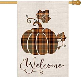 AVOIN Fall Buffalo Check Plaid Pumpkin House Flag Vertical Double Sided Welcome Quote, Seasonal Autumn Vintage Thanksgiving Rustic Burlap Yard Outdoor Decoration 28 x 40 Inch