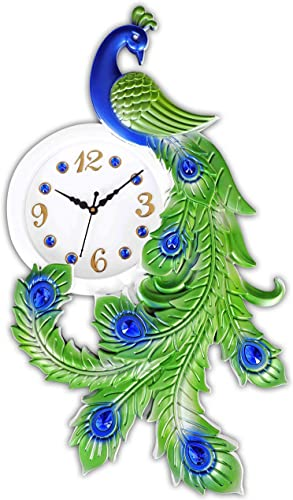REXERA Clock for Home Plastic Crafts Creations Peacock Designer Peacock Vintage Art Decoration Wall Clock for Living Room Bedroom Kitchen Space Green