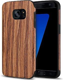 TENDLIN Funda Samsung Galaxy S7 Grano de Madera Silicona TPU Habrido Suave Carcasa para Samsung Galaxy S7 (Sándalo Rojo)