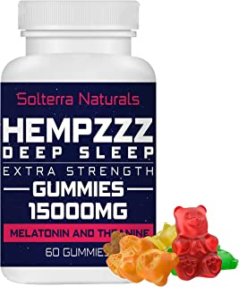 HempZZZ DEEP Sleep Extra Strength Gummies 15000 MG | with Melatonin and Theanine! Relaxation, Anxiety, Stress, Pain and Sl...