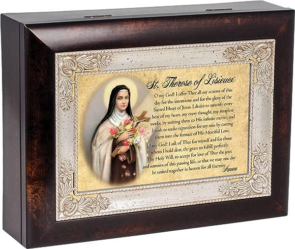 St Therese Of Lisieux Dark Wood Finish Jewelry Music Box Plays Tune Ave Maria