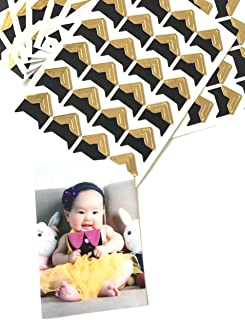 VEEPPO 240pcs Photo Mounting Corners Self Adhesive Paper for Photo Book Scrapbook (Gold)