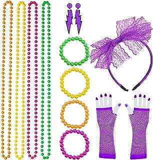 80s Costume Accessories for Women Lace Headband, Fishnet Gloves, Lightning Type Neon Earrings, Bracelet, and Beads