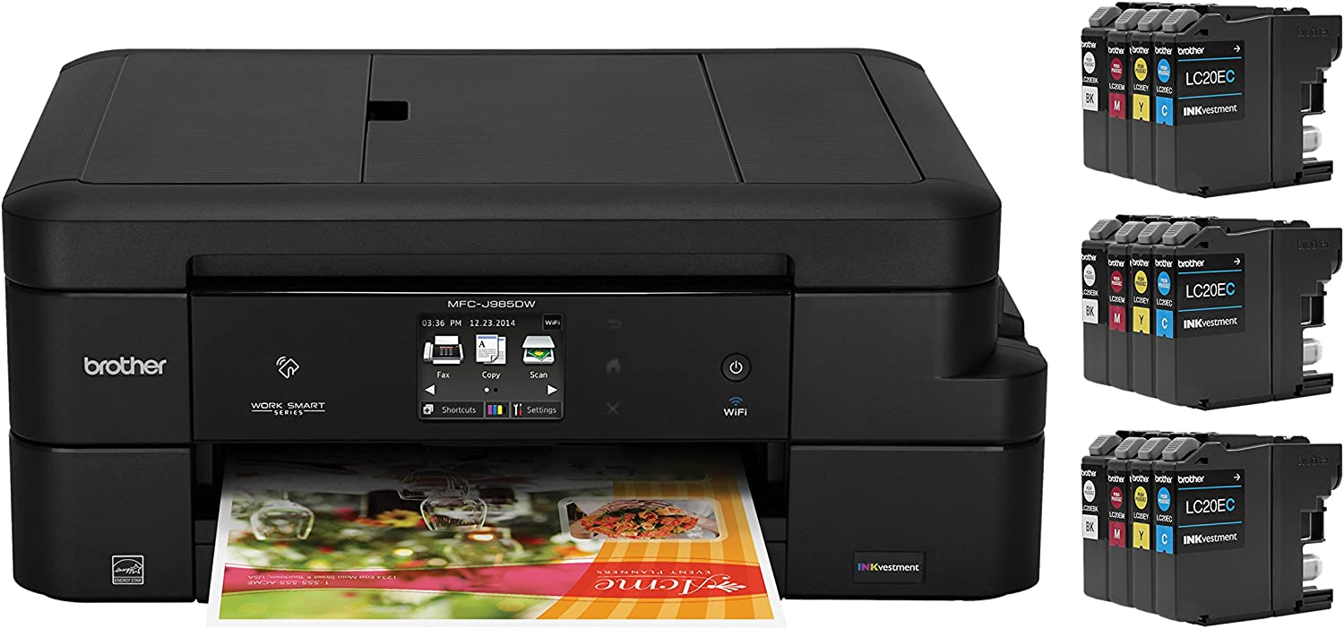 Brother Inkjet Printer, MFC-J985DW XL, Two-Sided Printing, Wireless, Amazon Dash Replenishment Ready, Business Capable Features, Up to 2 Years of Printing Included