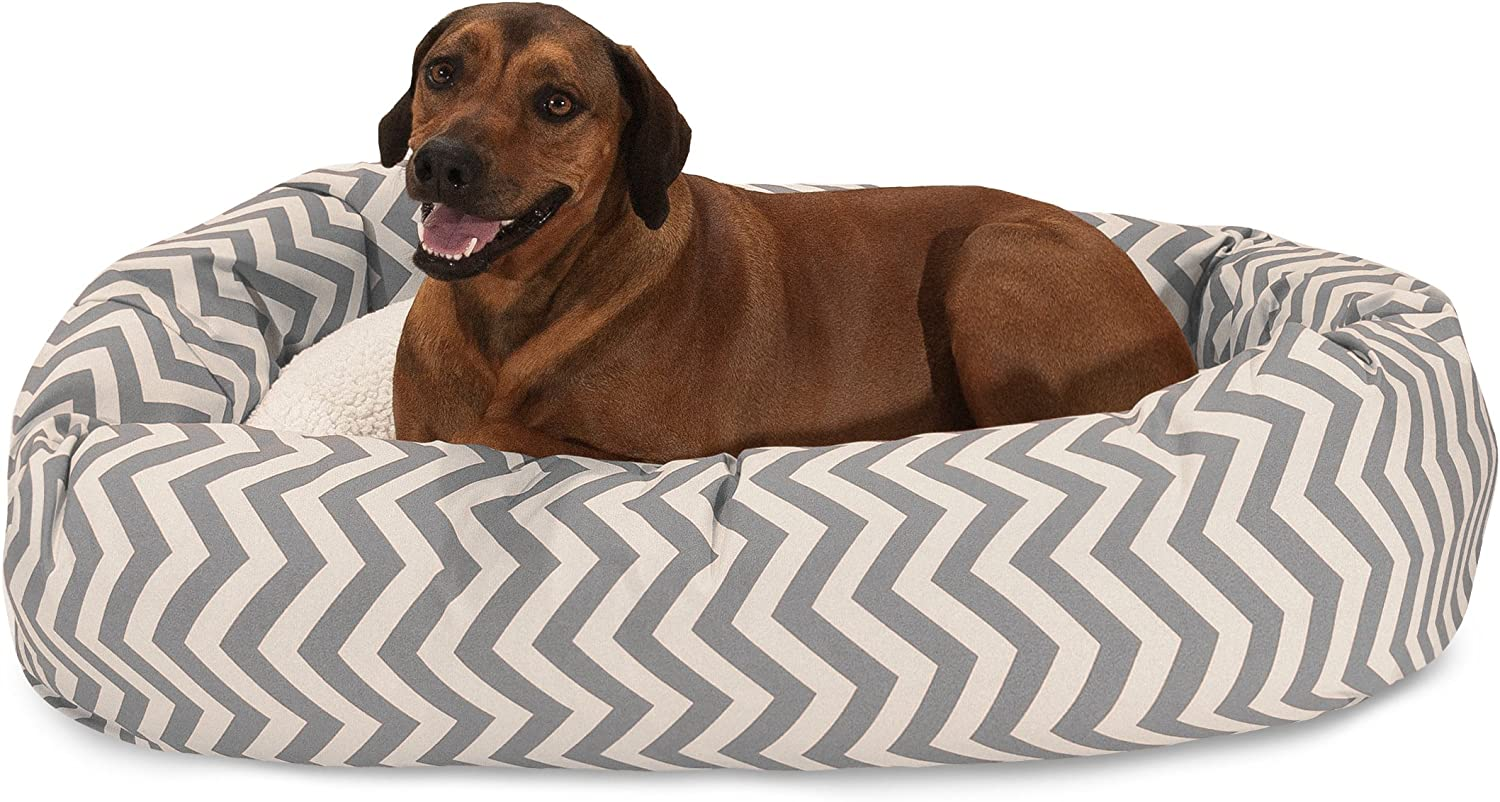 Majestic Pet 52 inch Grey Chevron Sherpa Bagel Dog Bed