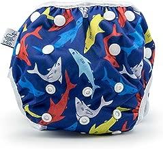 Eco-Friendly Reusable Baby Swim Diapers (Sizes N–5) – Adjustable, Easy-Wash Nageuret Reusable Swim Diaper Boys & Girls – Soft, Breathable, Waterproof Swim Wear for Baby & Newborn! (Sharks)