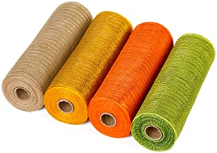 LaRibbons Deco Poly Mesh Ribbon - 10 inch x 30 feet Each Roll - Metallic Foil Orange/Gold/Cream/Green Set for Wreaths, Swa...
