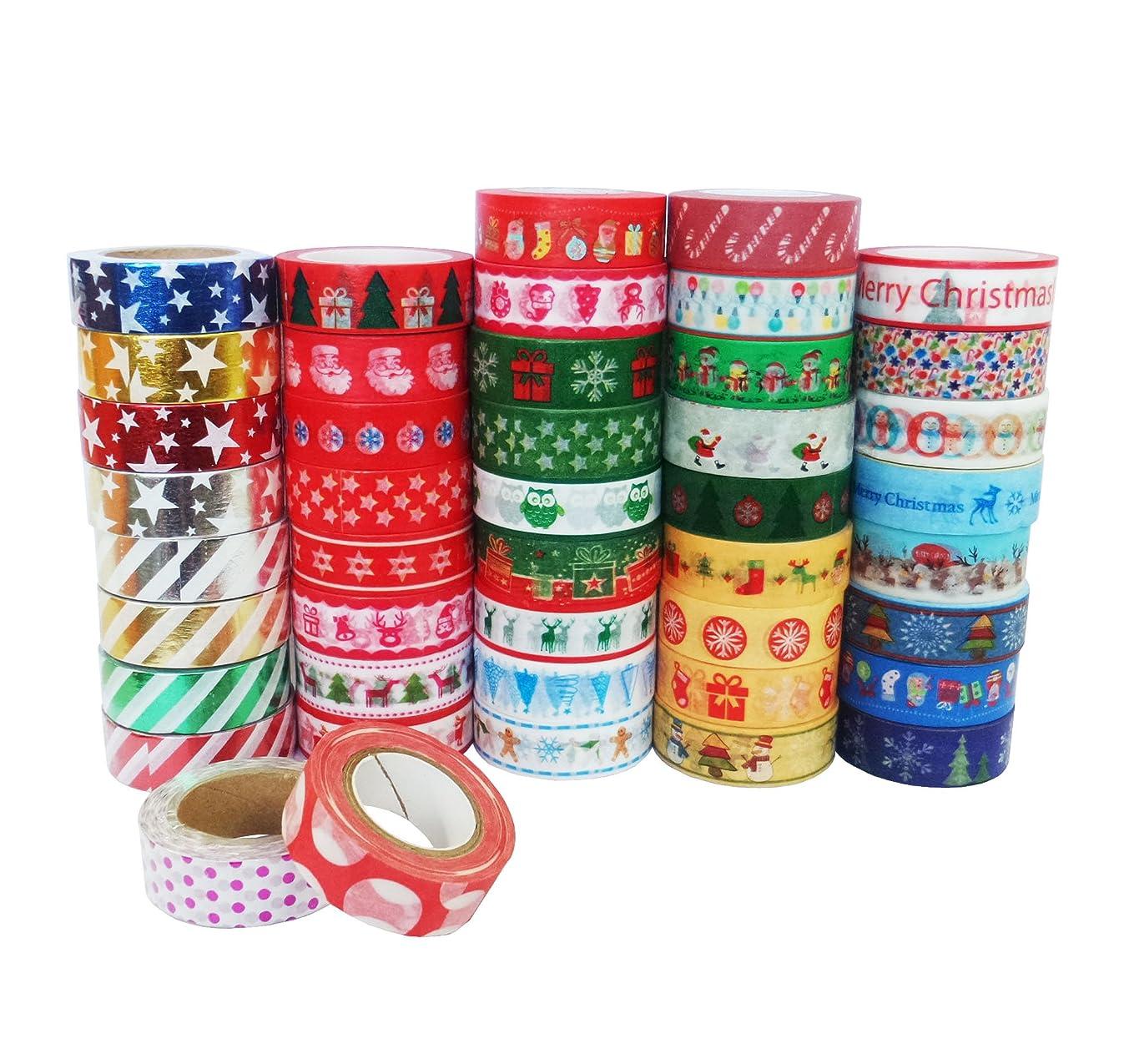 Yunko Decorative Craft Washi Masking Paper Tape Christmas Tape (Set of 12 Rolls)