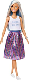 ​Barbie Fashionistas Doll with Long Blue and Platinum Blonde Hair Wearing 'Dream All Day' Tank, Striped Skirt and Accessories, for 3 to 8 Year Olds