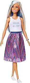 Barbie- Fashionista Muñeca con mechas azules y falda