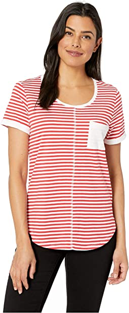 Yarn-Dye Stripe Short Sleeve Top w/ Pocket