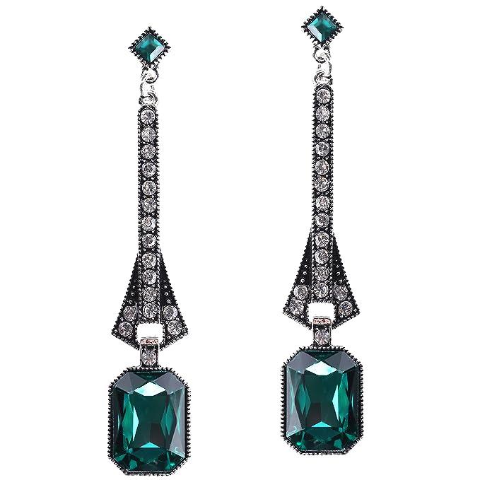 Bracelet Gatsby Earrings EMERALD GREEN earrings dangle Bohemian Boho Chic earrings 1920s Roaring 20s Retro statement Art Deco Earrings
