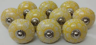 10 Flower Design Ceramic Knobs Handmade Handpainted Ceramic Door Knobs Kitchen Cabinet Drawer Pulls Kid's Bedroom Knobs by Zoya's Lots of 10 Knobs (Yellow)