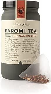 Paromi Tea Cinnamon Chai Tea Full-Leaf, 15 Tea Bags, Caffeine Free Organic Rooibos Tea with Cinnamon Ginger Cloves and Other Spices, Delicious Hot or Iced