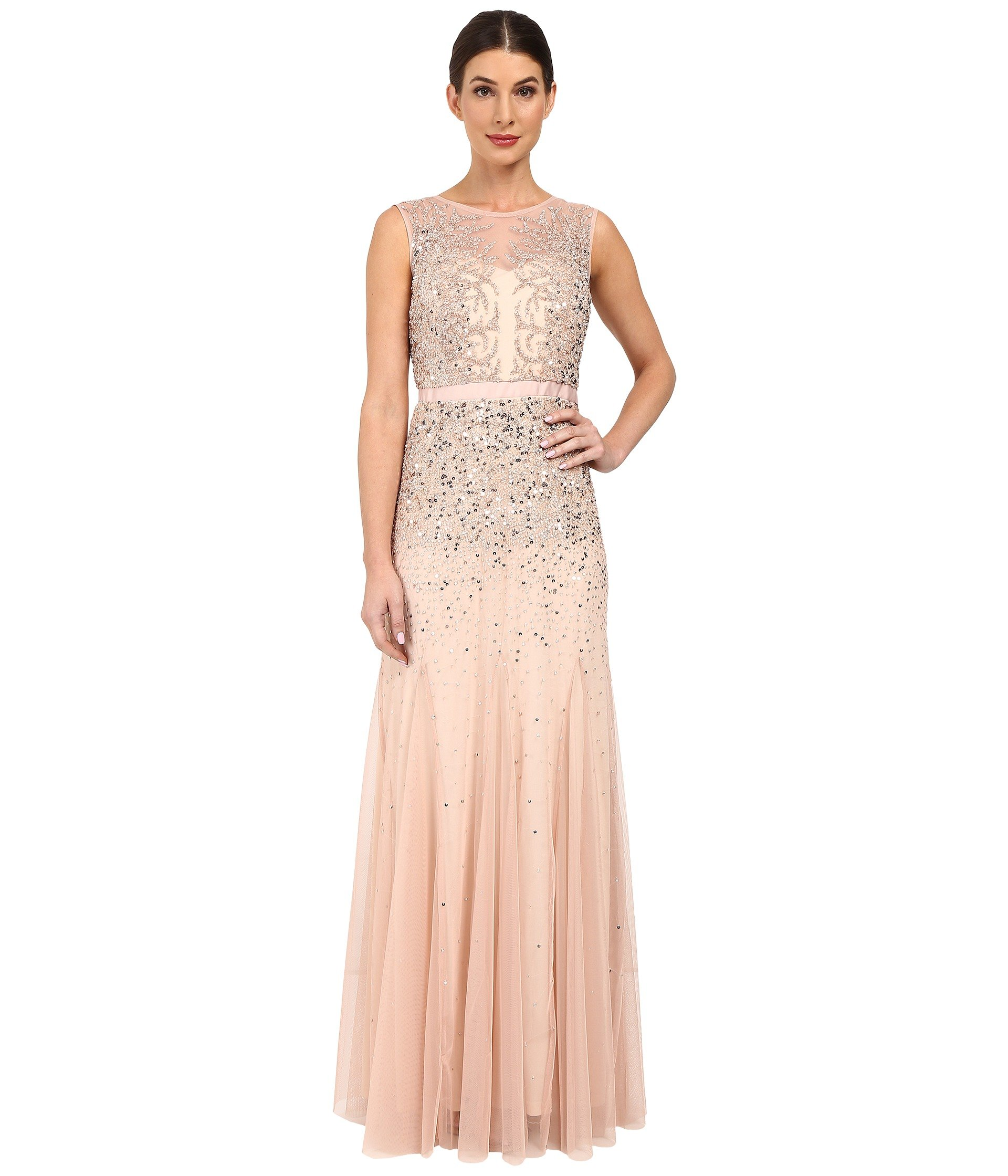 ADRIANNA PAPELL BEADED ILLUSION GOWN (PROM), BLUSH | ModeSens