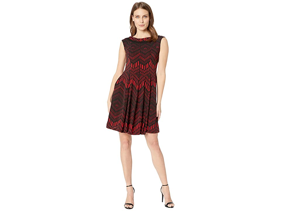 Gabby Skye Seam Down Fit and Flare (Red/Black) Women