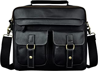 Le'aokuu Mens Leather Cowhide Document Case Briefcase Attache Messenger Bag Laptop Portfolio Bag (X B207 Black)
