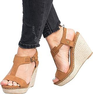 d9eb04f197d0 Womens Peep Toe Wedge Platform Sandals Buckle Espadrille Ankle Strap Sandal  Shoes