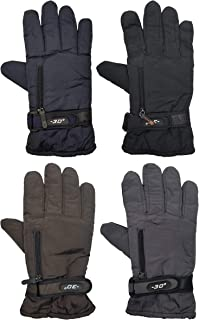 Fleece Lined Winter Gloves, 4 Pairs, Ultra Soft Fuzzy Interior, Grippers Warm Ski Sports Bulk Pack