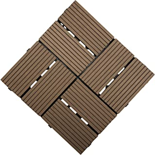 Samincom Patio and Deck Tiles – Interlocking Check Pattern Indoor Outdoor Flooring Weather and Slip Resistant Square, Water Resistant Flooring Tiles, 12