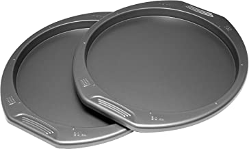 "product image for G & S Metal Products Company PF240-MTO Preferred 2-Piece Set-Includes Two 12"" Non-Stick Pizza Pans with Easy-to-Grip Handles, Medium, Gray"