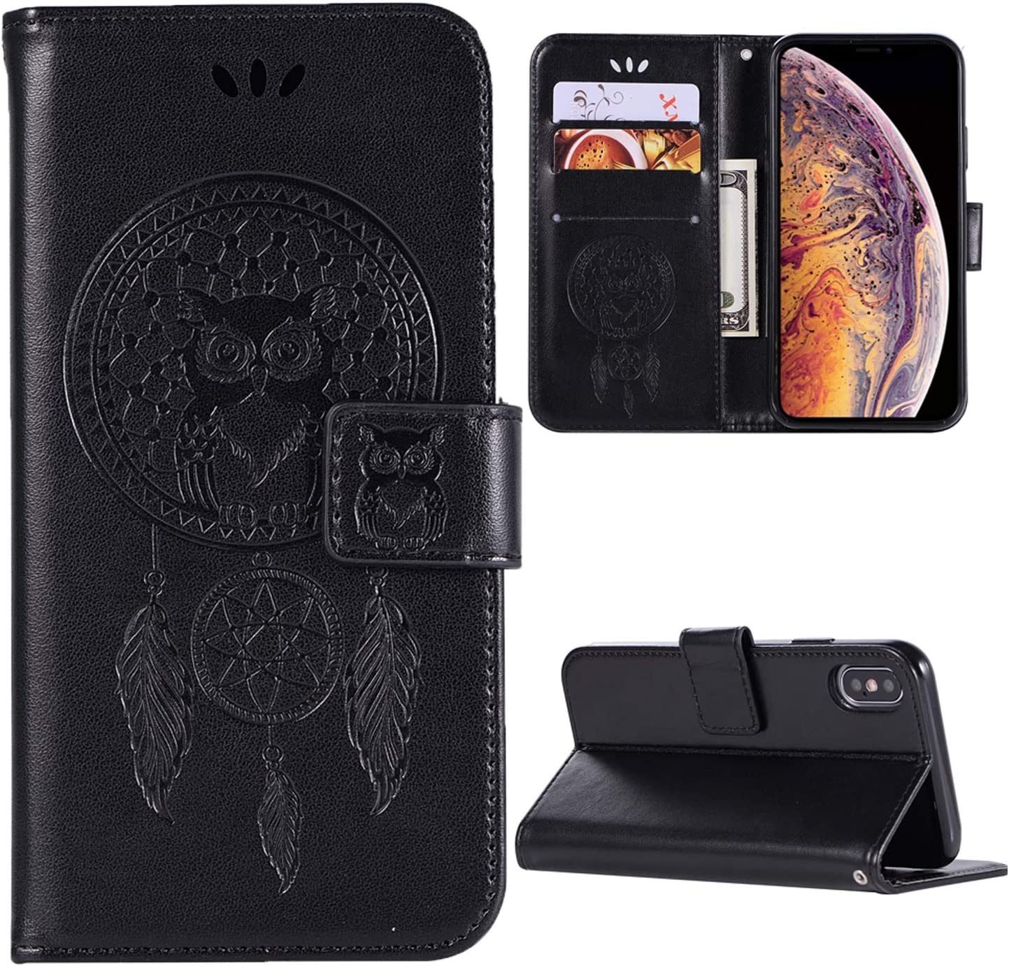 iPhone XS MAX Case,iPhone XS MAX Phone Case,iPhone XS MAX Wallet Case,PU Leather Flip Case with Credit Card Holder and Kickstand Owl Dreamcatcher Phone Cover for iPhone XS MAX (6.5 inch),Purple