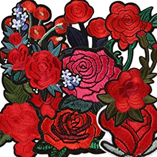 Mix Flower Iron on Patches Embroidery Patches for Girls & Women Assorted DIY Sew on Applique Patches Stickers Delicate Rose Patches for Kids Decorative Patches for Jackets, Backpacks, Jeans, Clothes