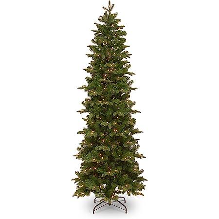 National Tree Company lit Artificial Christmas Tree Includes Pre-Strung White Lights, Prescott Slim-7.5 ft