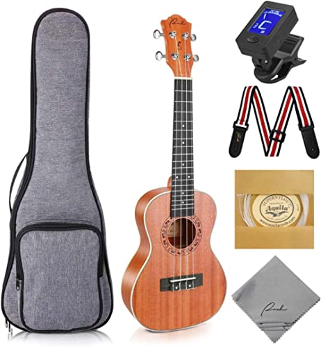 Ranch Concert Ukulele 23 inch Professional Wooden Ukelele Kit with Free Online Lessons, Gig Bag, Tuner, Strap, Aquila...