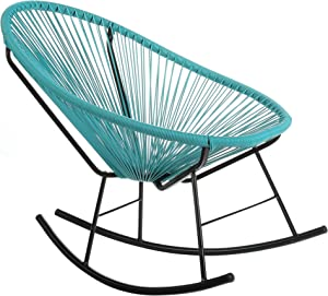 Joseph Allen Home Mid-Century Modern Acapulco Rocking Chair, Set of 2 Papasan Rockers, Turquoise Blue