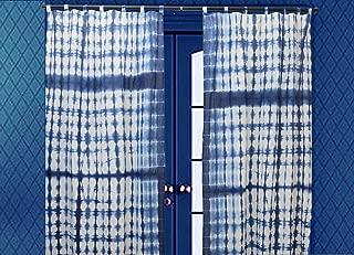 Indian Shibori Curtain, Indigo Sheer Curtain 63 Inches Long, Cotton Curtain, Tie Dye Curtain for Living Room, Decorative Window Treatment Curtain 1 Panel (Pattern 2, 44 x 63 Inches)