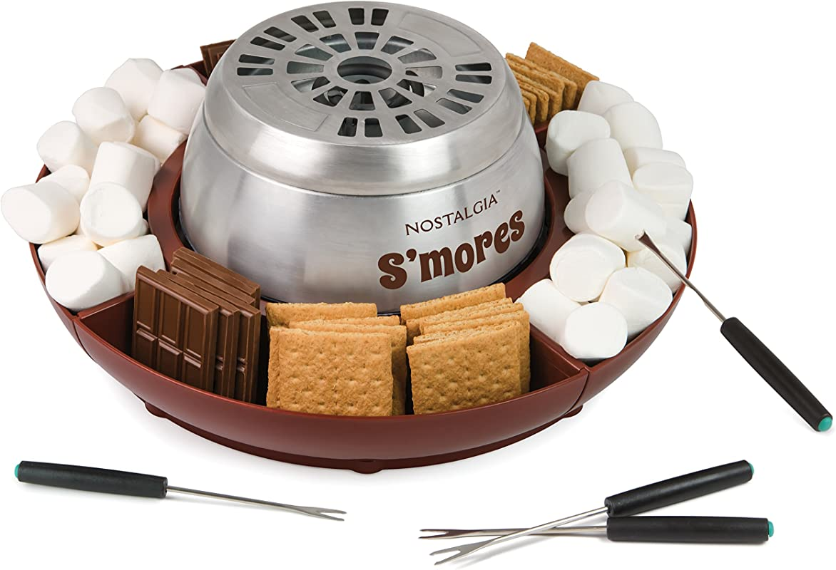 Nostalgia LSM400 Indoor Electric Stainless Steel S Mores Maker With 4 Lazy Susan Compartment Trays For Graham Crackers Chocolate Marshmallows And 4 Roasting Forks