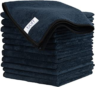 Buff Microfiber Cleaning Cloth   Black (12 Pack)   Size 16