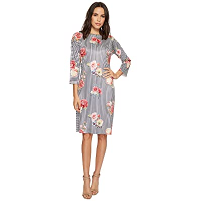 Nally & Millie Black/White Stripe Floral Dress (Multi) Women