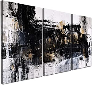 Abstract Canvas Wall Art / 3 Piece Set / Black and White Prints for Any Room Decor / Modern and Aesthetic Look for Your Home Office Living Room Bedroom / Framed and Ready to Hang / Each Panel Size 16in x 24in