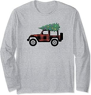 Buffalo Plaid Christmas Jeep Long Sleeve T Shirt