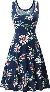 FENSACE Women's Sleeveless A line Waistline Midi Dress Casual Flared Tank Dress