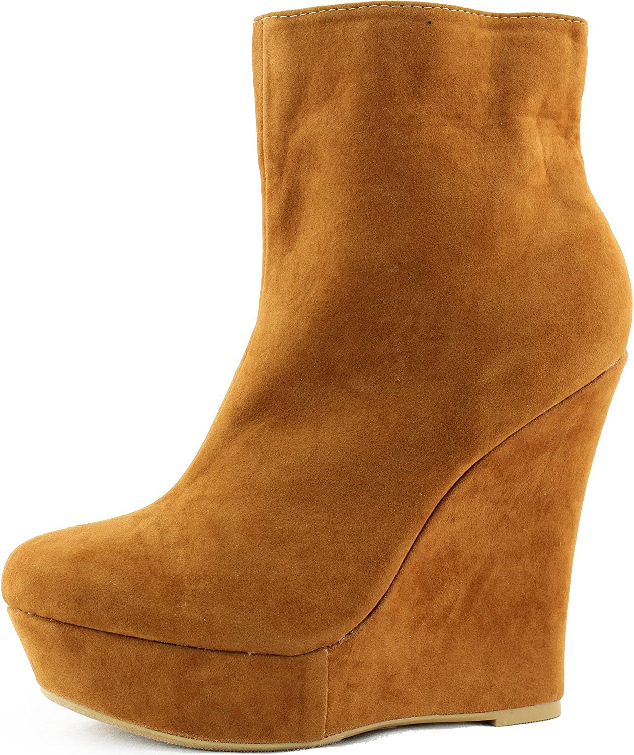 Women's Wedge Ankle Booties Boat High Heel Side Zipper Mid Calf Boots Fashion shoes