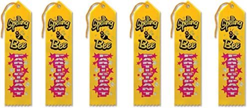 Beistle AR159 Spelling Bee Participant Award Ribbons, 2 by 8-Inch, 6-Pack