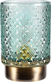 Pauleen 48131 Modern Glamour Lampe Mobile Poser minuterie 6h Pile luminaire câble Verre/Métal, 0.4 W, Turquoise, Laiton