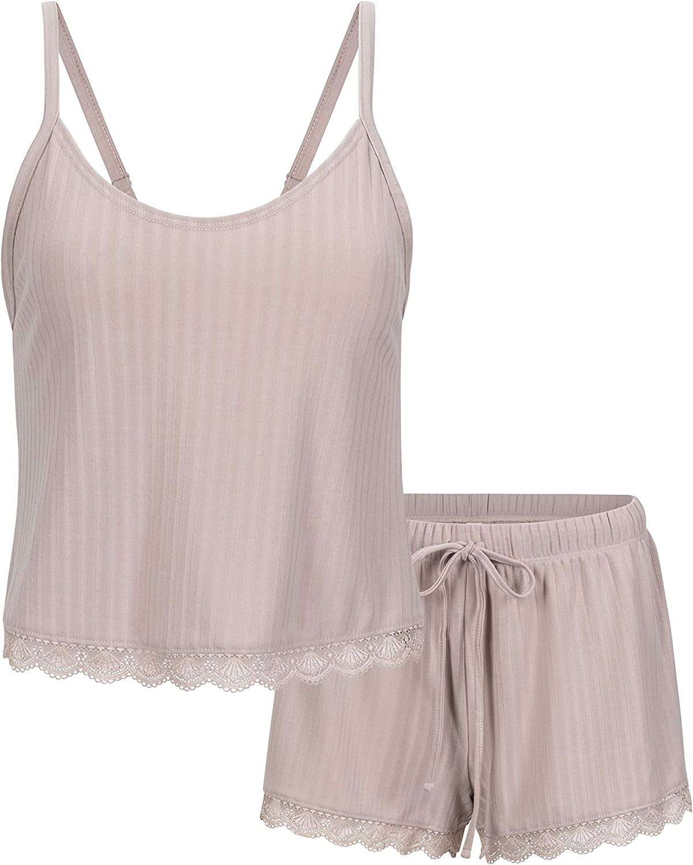 Jessica Simpson Women's Ribbed Meet and Greet Cami and Short Pajama Set