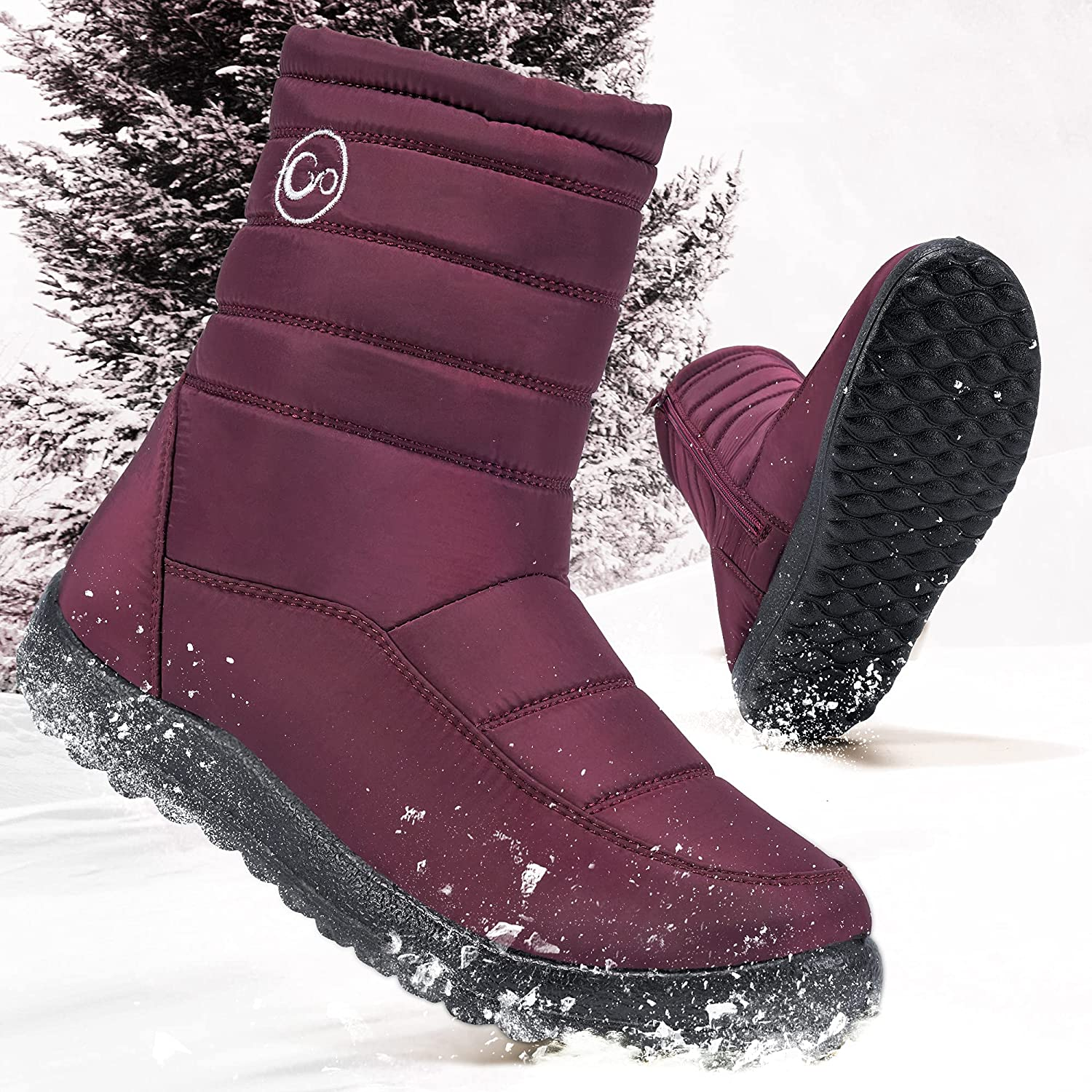 Womens Winter Snow Boots for Women with Arch Support Outdoor Warm Fur Lining Ankle Booties Zipper Waterproof Comfortable Shoes