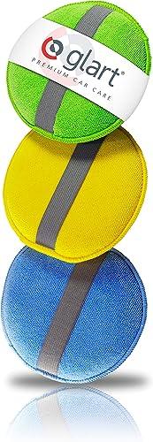 Glart 43PP Almohadillas de Pulido de Microfibra Con La Banda de Caucho, Set de 3, Azul/Verde/Amarillo, 130 x 25 mm
