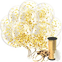 Decopom Gold Confetti Balloons Curling Ribbon - Roll & Flower Clips 32 Pack   Premium 12 Inch Latex Party Balloons - Filled Round Golden Mylar Foil Dot Confetti Birthday, Wedding, Proposal
