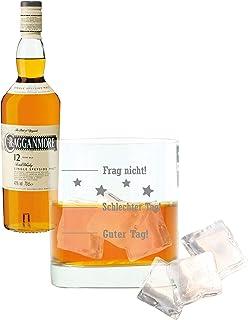 Whiskey 2er Set, Cragganmore 12 Years / Jahre, Single Malt, Whisky, Scotch, Alkohol, Alokoholgetränk, Flasche, 40%, 700 ml, 701719, Geschenk zum Vatertag, mit graviertem Glas
