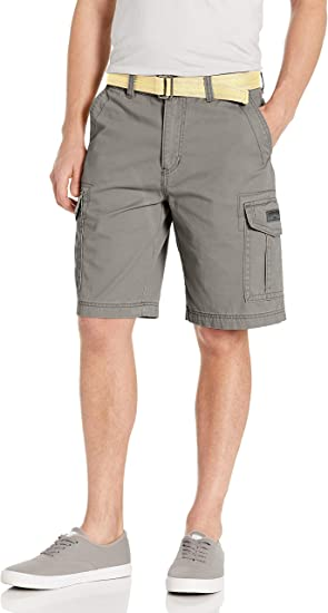 UNIONBAY Mens Standard Classic Belted Vintage Twill Relaxed Fit Cargo Short